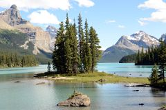 Spirit Island In Maligne Lake With Mount Paul, Monkhead Mountain, Mount Mary Vaux Near Jasper